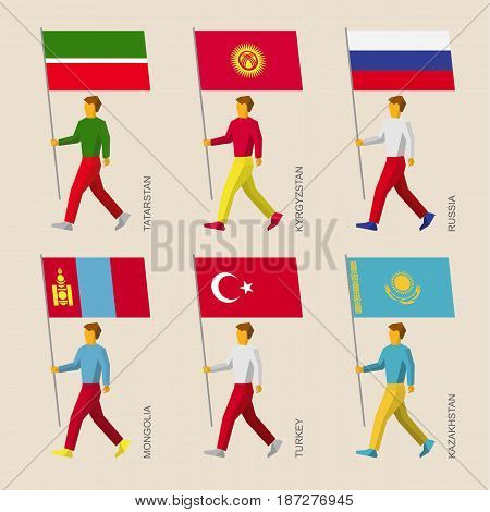 Set of simple flat people with flags of Asian countries. Standard bearers infographic - Russia, Kazakhstan, Kyrgyzstan, Turkey, Tatarstan, Mongolia.