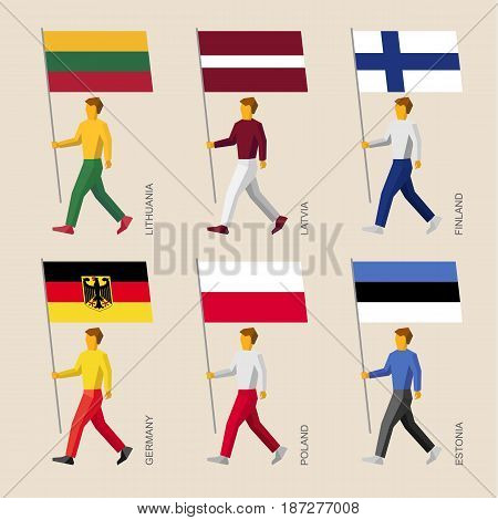 Set of simple flat people with flags of European countries. Standard bearers infographic - Germany, Latvia, Estonia, Lithuania, Finland, Poland.
