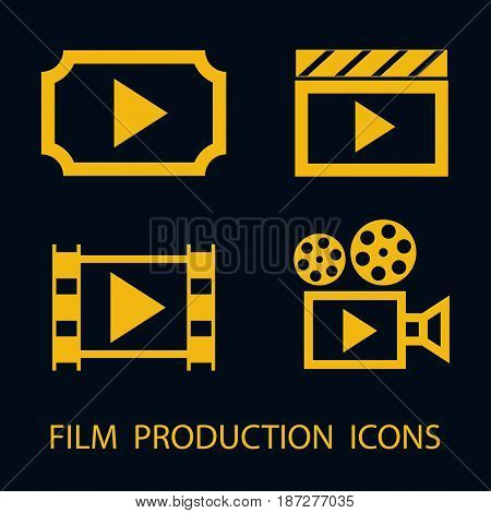 Film production flat icon set. Cinema ticket clapper film and vintage film video camera