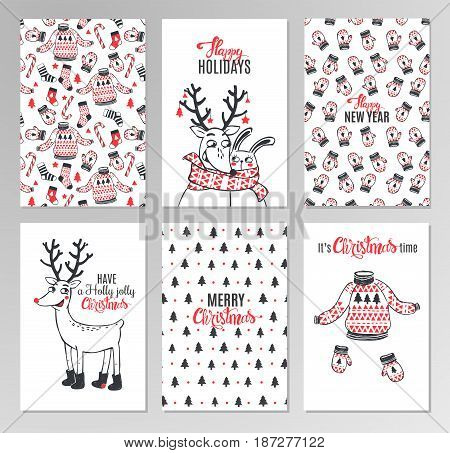 Christmas hand drawn printable cards with deer, santa, christmas tree, snowflakes and lettering. New Year and Merry Christmas invitation set on white background in hipster style. Vector illustration.