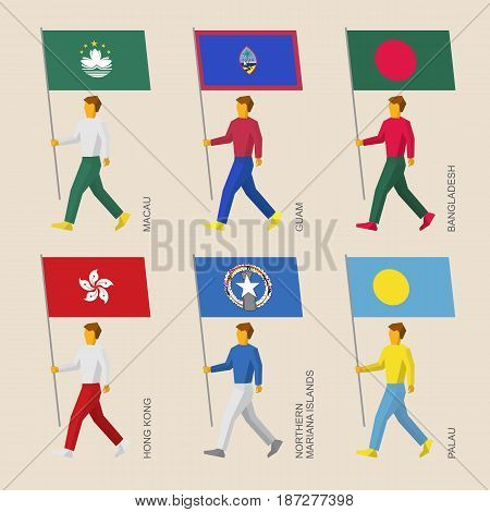 Set of simple flat people with flags of Asia and Oceania countries. Standard bearers infographic - Hong Kong, Bangladesh, Macau, Guam, Palau, Northern Mariana Islands