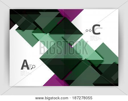 modern geometric annual report cover. Modern business brochure or leaflet A4 cover template. Abstract background with color triangles, annual report print backdrop. design for workflow layout