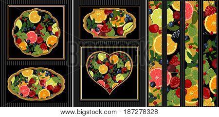Slices of lemon, orange, lime, blueberries, cranberries, lingonberries, cherries and strawberries.