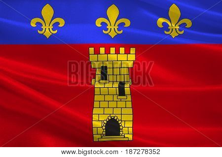 Flag of Clermont is a commune in the Oise department in northern France. 3d illustration