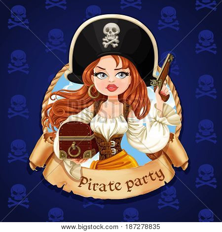 Beautiful Pirate Girl With Treasure Chest And Gun. Banner For Pirate Party