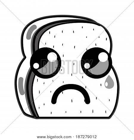 line kawaii cute crying chopped bread, vector illustration design