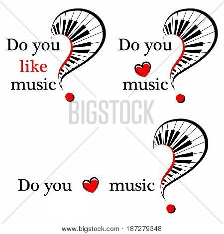 set of symbol of music with piano keys and heart . vector