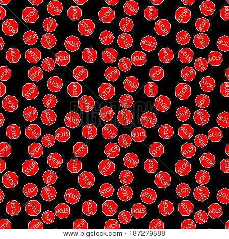 black seamless pattern with red road sign stop. vector