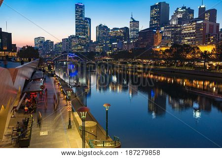 Southbank Promenade, Yarra River And Cbd At Night