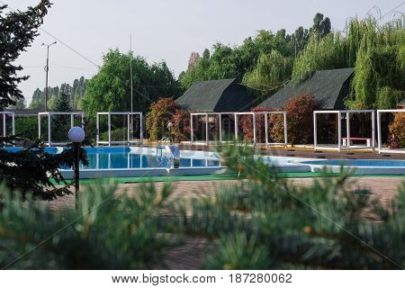 Summer vacation SPA pool for rest in green woods