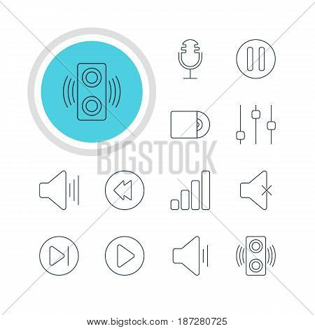 Vector Illustration Of 12 Music Icons. Editable Pack Of Compact Disk, Subsequent, Volume Up And Other Elements.