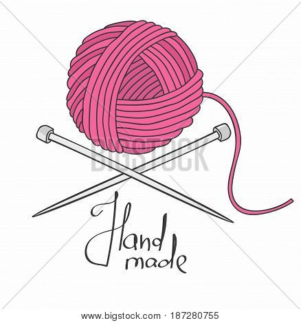 Ball of yarn and needles on white background.