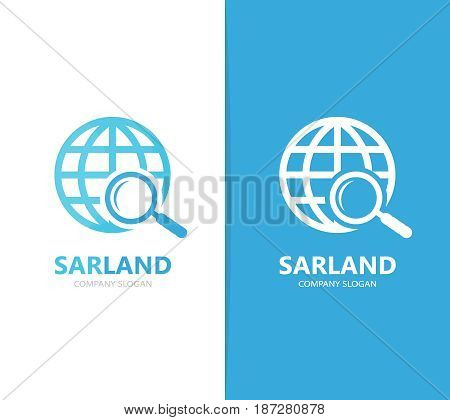 Vector of planet and loupe logo combination. World and magnifying glass symbol or icon. Unique globe and search logotype design template.
