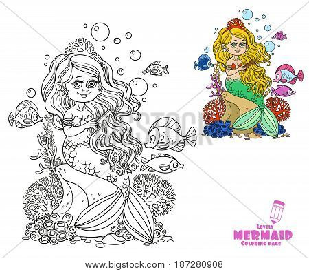Beautiful Little Mermaid Girl Sits On A Rock And Combs Her Hair With A Comb Coloring Page On A White