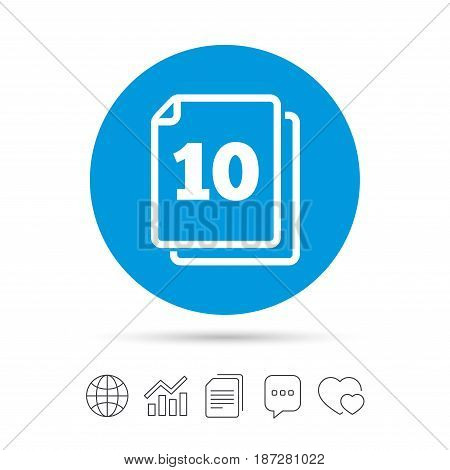 In pack 10 sheets sign icon. 10 papers symbol. Copy files, chat speech bubble and chart web icons. Vector