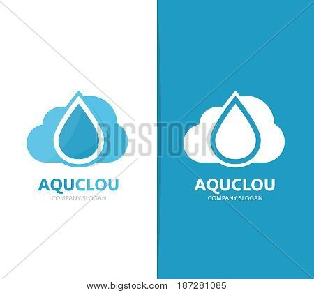 Vector of oil and cloud logo combination. Drop and storage symbol or icon. Unique water and aqua logotype design template.