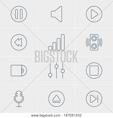 Vector Illustration Of 12 Melody Icons. Editable Pack Of Start, Compact Disk, Acoustic And Other Elements.