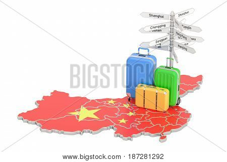China travel concept. Chinese flag on map with suitcases and signpost 3D rendering