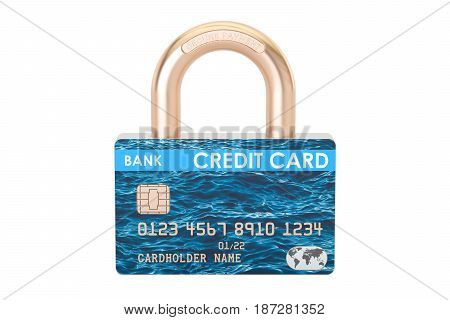 Credit card padlock security payment concept. 3D rendering
