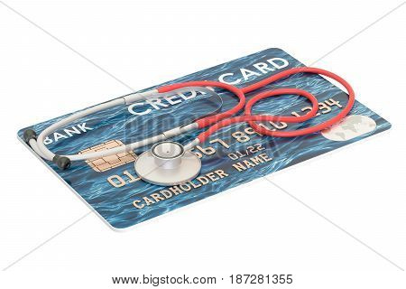Credit card with stethoscope financial aid concept. 3D rendering isolated on white background