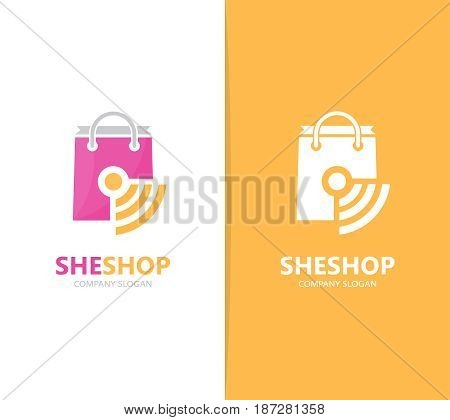 Vector of shop and wifi logo combination. Sale and signal symbol or icon. Unique bag and radio, internet logotype design template.