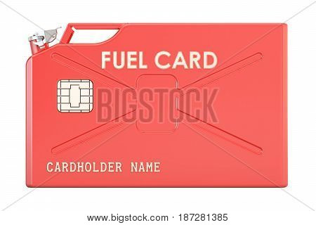 Fuel card from jerrycan 3D rendering isolated on white background