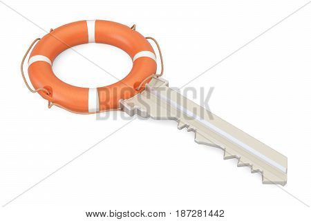 Key with lifebuoy security and protection concept. 3D rendering isolated on white background