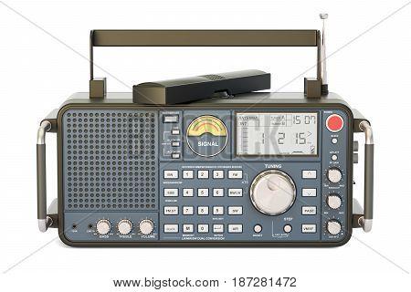 modern digital radio 3D rendering isolated on white background