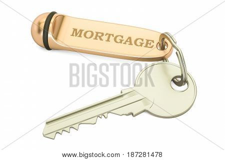 Mortgage concept. Home key with keychain 3D rendering