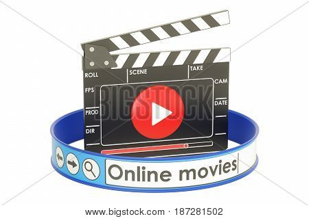 Online movies concept 3D rendering isolated on white background