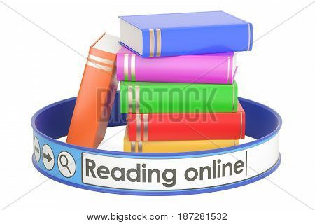 reading online concept 3D rendering isolated on white background