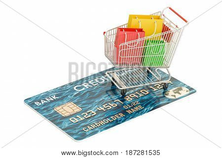 Shopping concept. Credit card and shopping cart with shopping bags 3D rendering