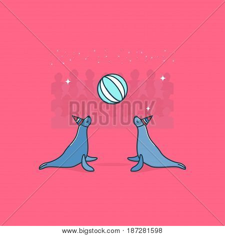 Circus seals. Vector. Circus artist. Cartoon animal.