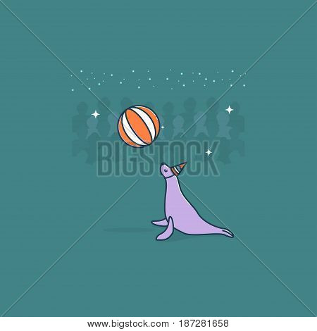Circus seal. Vector. Circus artist. Cartoon animal.