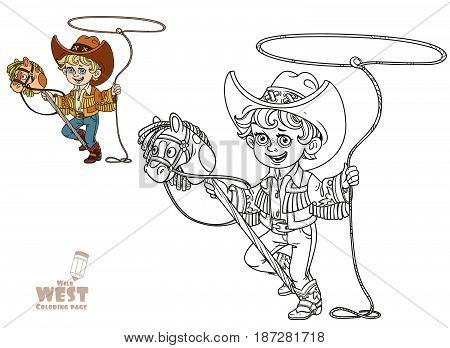 Cute Little Boy Playing With A Horse On A Stick And Lasso Coloring Page On A White Background