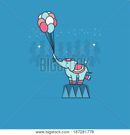 Circus elephant. Vector. Circus artist. Cartoon animal.