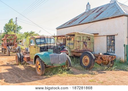 PHILIPPOLIS SOUTH AFRICA - MARCH 21 2017: Historic old vehicles in Philippolis the oldest town in the Free State Province
