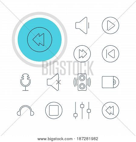 Vector Illustration Of 12 Melody Icons. Editable Pack Of Reversing, Stabilizer, Soundless And Other Elements.