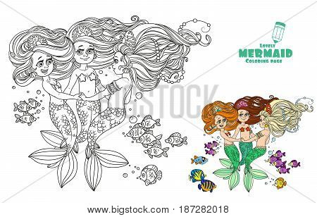 Three Beautiful Mermaid Girls Swirl In Dance Surrounded By Fish Coloring Page On White Background
