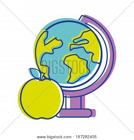 earth plenet desk with apple fruit, vector illustration