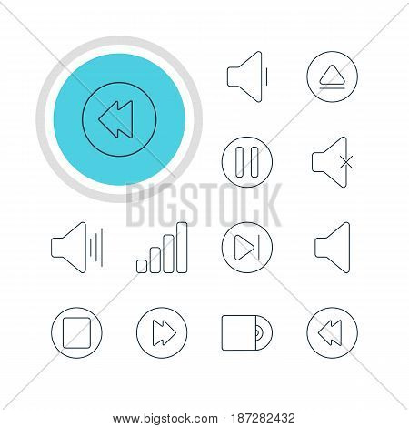 Vector Illustration Of 12 Melody Icons. Editable Pack Of Decrease Sound, Rewind, Pause And Other Elements.