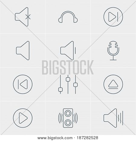 Vector Illustration Of 12 Melody Icons. Editable Pack Of Volume Up, Amplifier, Speaker And Other Elements.