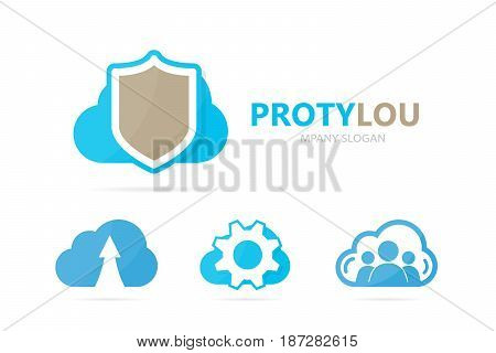 Vector of shield and cloud logo combination. Security and storage logotype design template.