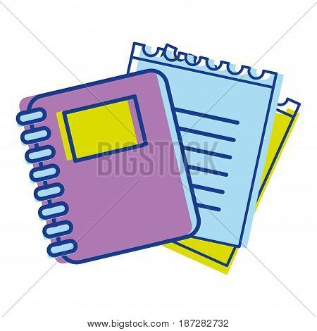 rings notebook tool with loose paper, vector illustration