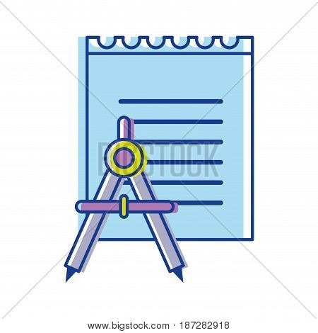 paper notebook with compass tool study, vector illustration