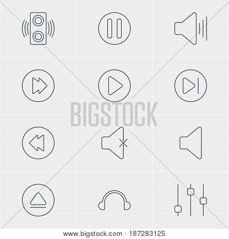 Vector Illustration Of 12 Melody Icons. Editable Pack Of Lag, Subsequent, Start And Other Elements.
