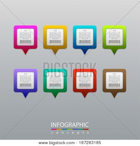Infographic business concept with 8 colorful pins, pointer marks. Vector illustration can be used for diagram, chart, web design, presentation, advertising, map