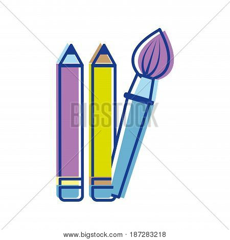 pencils and art paint brush tool, vector illustration