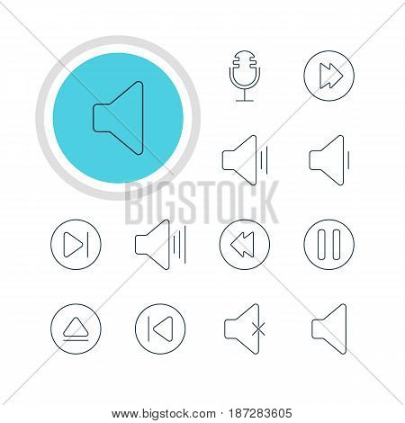 Vector Illustration Of 12 Melody Icons. Editable Pack Of Advanced, Mike, Soundless And Other Elements.