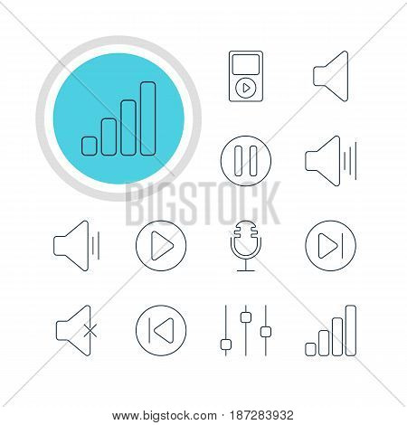 Vector Illustration Of 12 Melody Icons. Editable Pack Of Mp3, Start, Stabilizer And Other Elements.